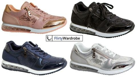 Womens Trainers Shoes Gym Running Shock Air Absorbing Sole Sports Snake Sequin